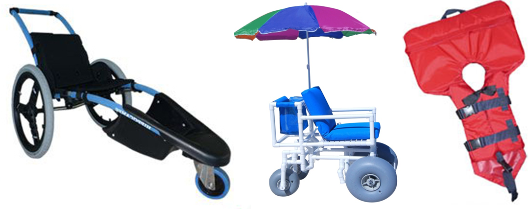 Adapted equipment to ease movement for people with reduced mobility and help handicapped people engage in activities